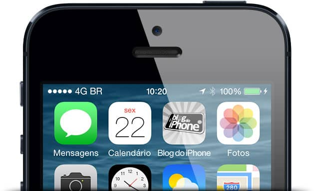iPhone 5 conectado ao 4G, com ícone do app do Blog do iPhone