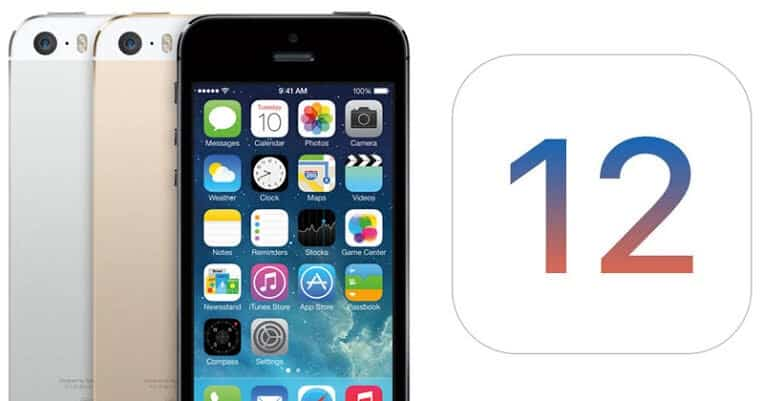 iphone 5 com logotipo do ios 12