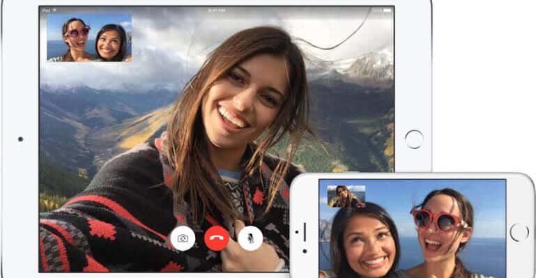 iphone e ipad com pessoas falando por video no facetime