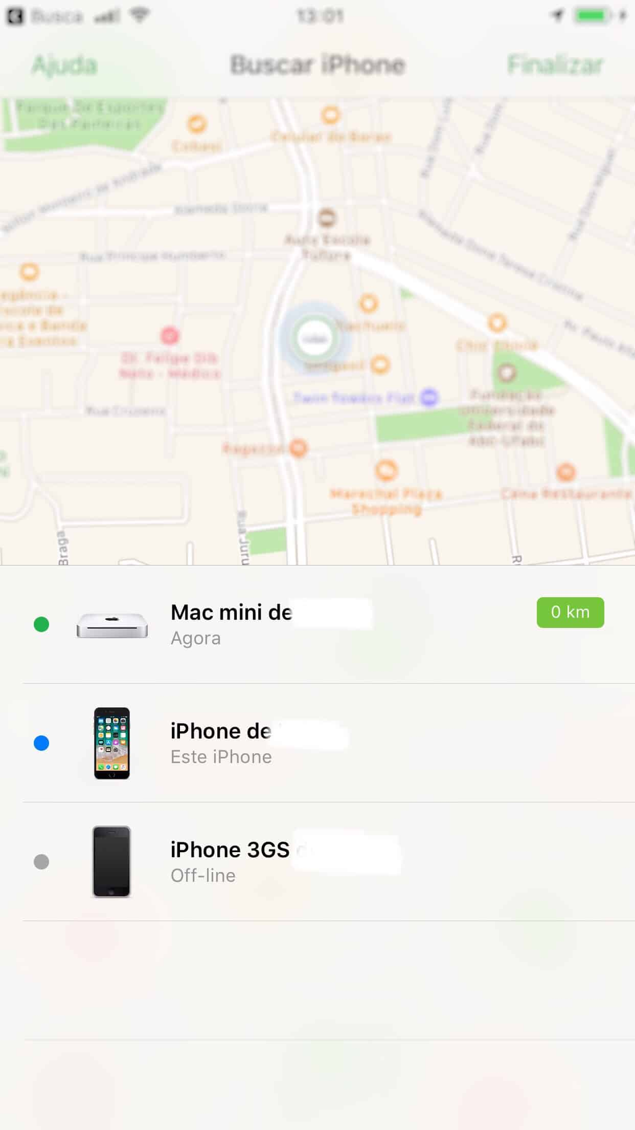 captura de tela com um mapa e uma lita com tres dispositivos apple