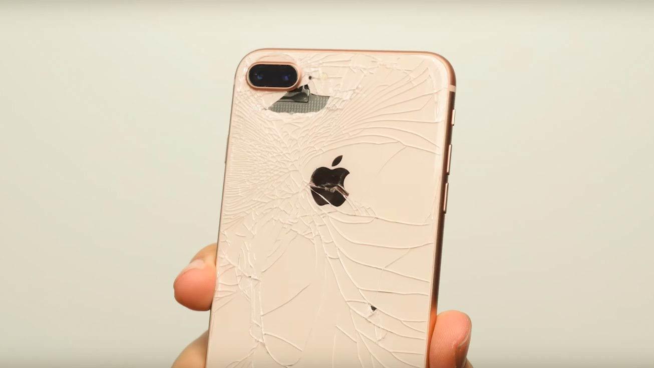 iphone 8 dourado com vidro traseiro danificado
