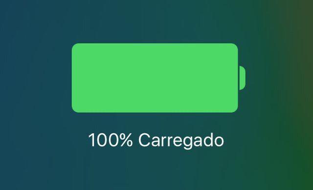 Ícone da bateria do iPhone em 100% de carga