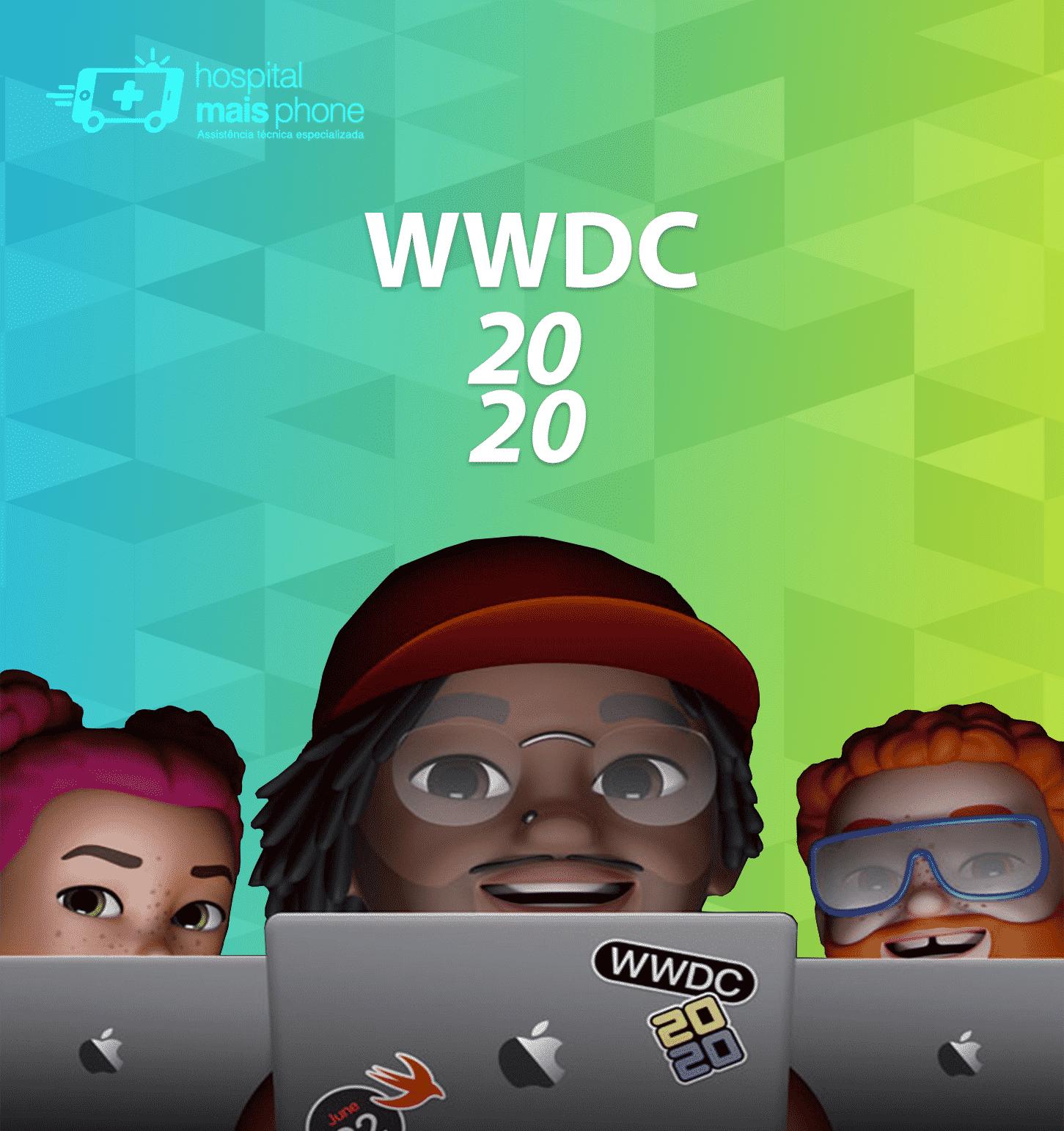 Memojis com macbooks e adesivos da WWDC 2020